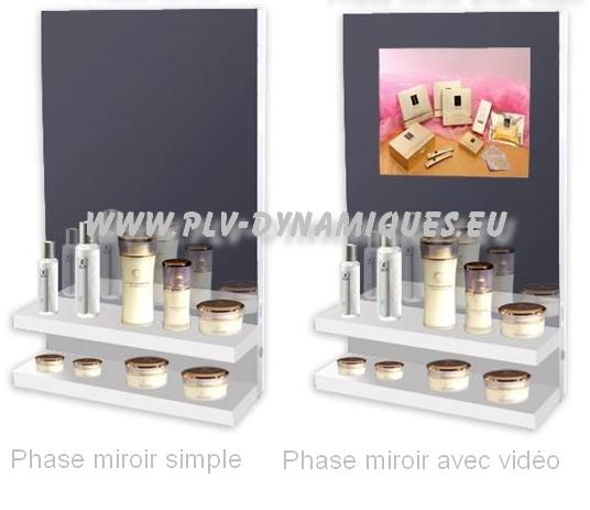 affichage dynamique - Présentoir de parfumerie avec mirroir et écran vidéo intégiré