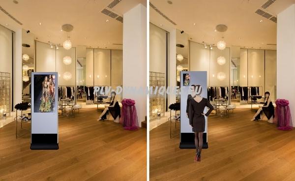 affichage publicitaire avec fonction miroir et diiffusion vidéo : totem vidéo