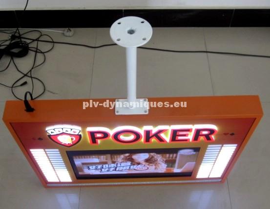 écran lcd publicitaire avec décors leds vu de dessus