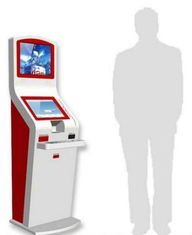 borne interactive avec deux écrans et un clavier
