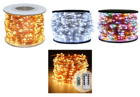 guirlande lumineuse - guirlande à led avec support fil de cuivre - télécommande disponible - couleurs présentées or, blanc et multicolore