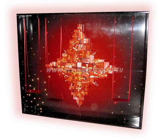 Caisson pour décoration vitrine complémentaire de la photo précédente ; l'étoile est en PVC thermoformé.