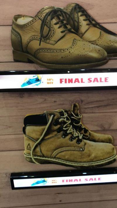 écrans dynamiques - vue des étiquettes présentant des chaussures
